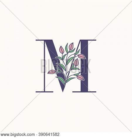 Ornate Initial Letter M Logo Icon, Vector Letter With Flower And Natural Leaf Clip Art Designs.