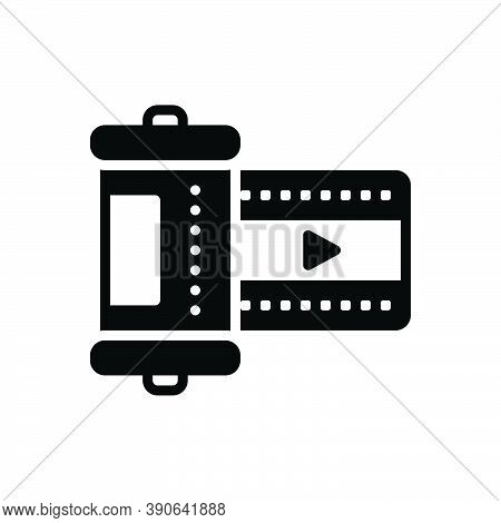 Black Solid Icon For Film Movie Picture Cinematography Entertainment Filmstrip Script Video