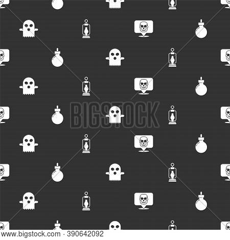 Set Skull, Bomb Ready To Explode, Ghost And Camping Lantern On Seamless Pattern. Vector
