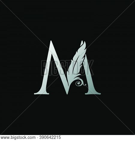 Luxury Feather Letter M Logo Icon. Monogram Logo Template Design Concept For Identity Of Law, Lawyer