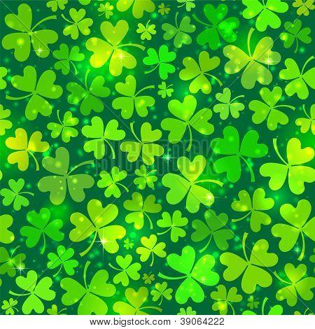 Dark green seamless clover pattern with lights