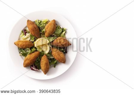 Traditional Lebanese Kibbeh Isolated On White Background.top View. Copy Space