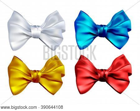 Set Realistic Color Bows, Vector Illustration Isolated On White