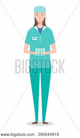 Laboratory Assistant Woman Holding Stand With Empty Test Tubes In Hands, Professional Medical Assist