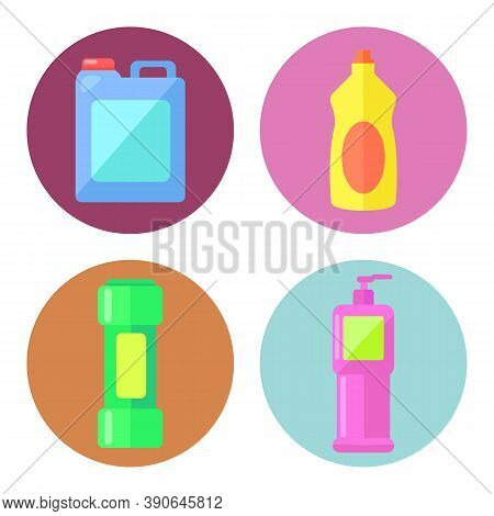 Household Chemicals Containers Plastic Bottle Pack, Cleaning Housework Liquid Domestic Fluid Cleaner