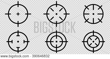 Target Aim Icons On Transparent Background. Isolated Sniper Focus In Black. Outline Weapon Bullseye.