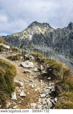 Mengusovsky Peak, High Tatras Mountains, Slovak Republic. Hiking Theme. Seasonal Natural Scene.