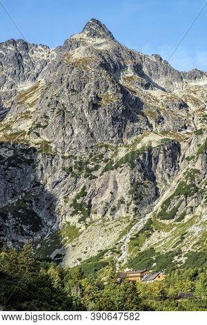 Mountain Cottage, Green Tarn Valley, High Tatras Mountains, Slovakia Republic. Seasonal Natural Scen
