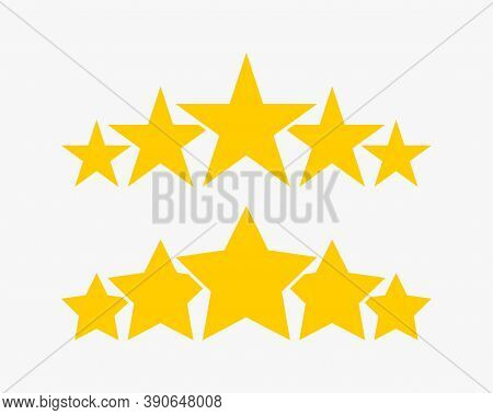 Stars. 5 Stars Product Quality Rating. Gold Star Vector Icons. Five Stars Customer Feedback Concept.