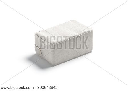 Blank Canvas Cosmetic Bag Mockup Lying, Side View, 3d Rendering. Empty Linen Clutch Or Container For