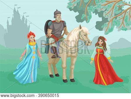 Warrior On A Horse, Beautiful Princesses Nearby. A Man In Armor, Ammunition And A Spear. Castle Silh