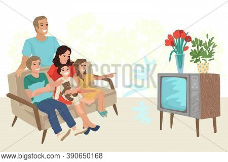 Big Family With Three Children Watching Retro Tv, Sitting On The Sofa At Home. Rest With Relatives,