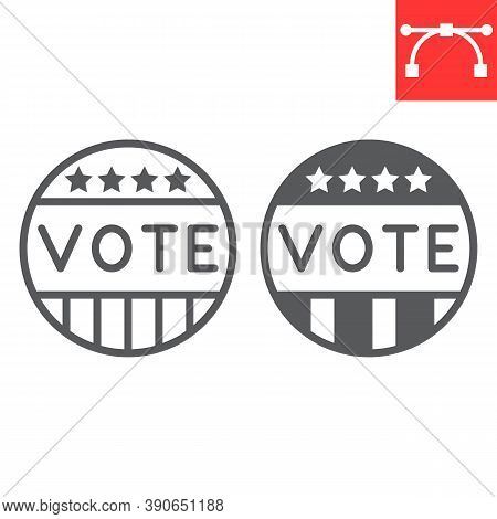Vote Badge Line And Glyph Icon, Election And Democratic, Vote Button Sign Vector Graphics, Editable