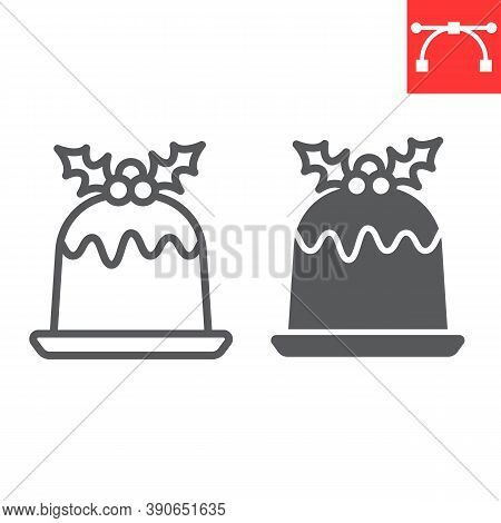 Christmas Pudding Line And Glyph Icon, Merry Christmas And Dessert, Holly Berries Sign Vector Graphi