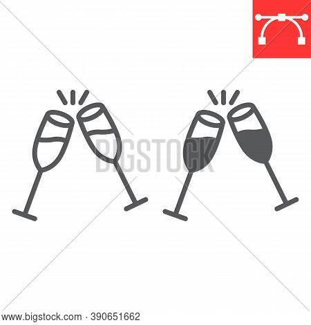 Champagne Glasses Line And Glyph Icon, Merry Christmas And Toast, Two Glasses Of Champagne Sign Vect