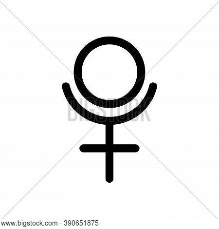 Pluto Planet Symbol. Vector Sign. Astrological Calendar. Zodiacal Black And White Horoscope. Outline