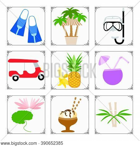 Thailand Symbols Set Vector Illustration Tuk-tuk, Palm Trees, Ice Cream, Cocktail, Banana, Pineapple