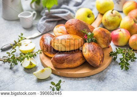 Ready-made Baked Pies (pirogi) With Apple. Traditional Russian Cuisine.homemade Delicious Apple Pie