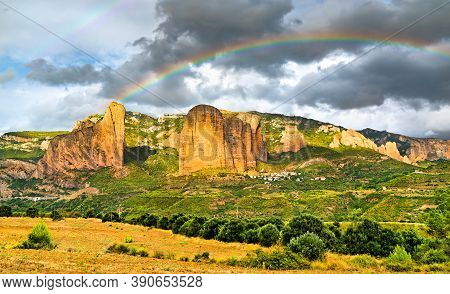 Rainbow Above The Mallos De Riglos, Conglomerate Rock Formations In Huesca - Aragon, Spain