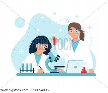 Scientist At Work, Characters Conducting Experiments In Lab. Vector Illustration In Flat Style