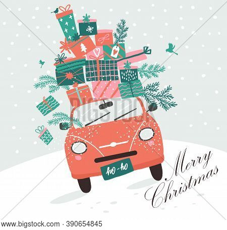 Vector Picture With Pink Car And Christmas Gifts. Christmas Picture. Red Pickup. New Year Illustrati