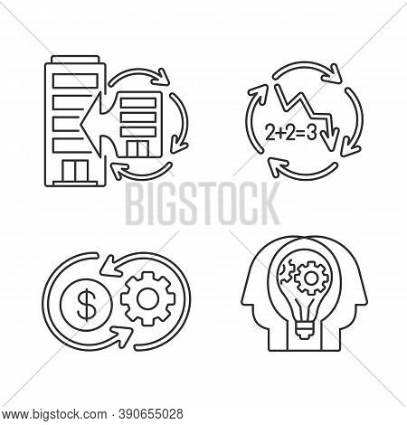Business Synergy Linear Icons Set. Corporate Expansion. Company Merge. Decline In Numbers. Customiza