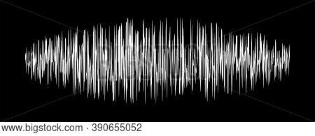 Sound Signal Waveform, Audio Wave Line On Black, Sound Wave For Voice Recording Music, Music Audio S