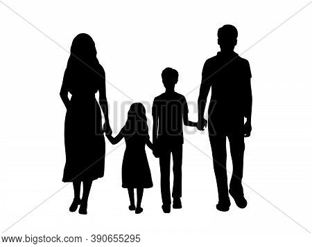 Silhouettes Family Father Mother Son And Daughter From Back. Illustration Graphics Icon Vector