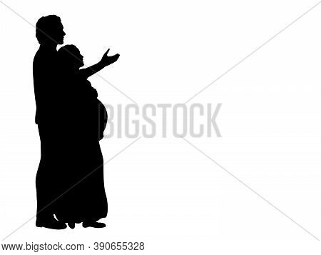 Silhouette Happy Couple Expecting Baby Thinking Life With Child. Illustration Graphics Icon Vector