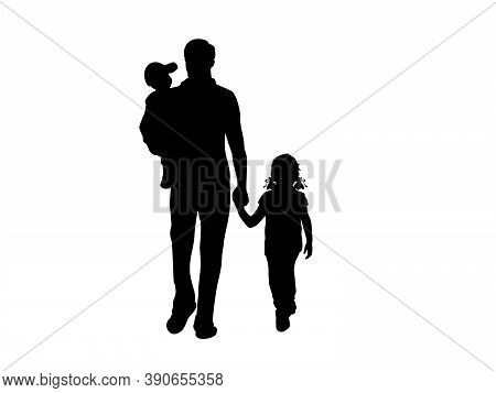 Silhouette Of Walking Father With Two Children From Back. Illustration Graphics Icon Vector
