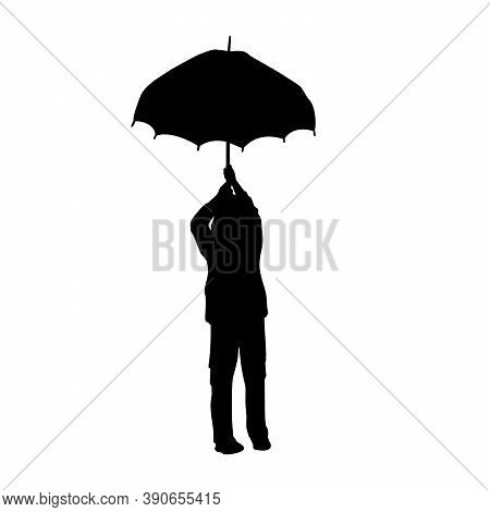 Silhouette Little Boy Standing Under Umbrella. Illustration Graphics Icon Vector