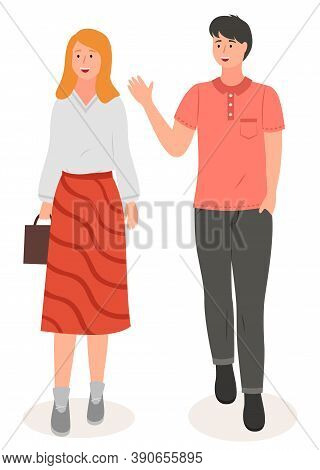 Cartoon Characters, Stylish Young Couple Wearing Casual Clothes. Guy Waving Hand Wearing T-shirt And