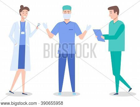 Doctors, Medical Staff, Healthcare Medicine Concept, Woman With Magnifying Glass, Surgeon In Mask An