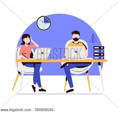 Business Topics - Office Work. Flat Style Modern Outlined Vector Concept Illustration. Man And Woman