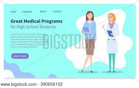 Landing Page Of Medical Website. Great Medical Programs For High School Students. Medical Education.