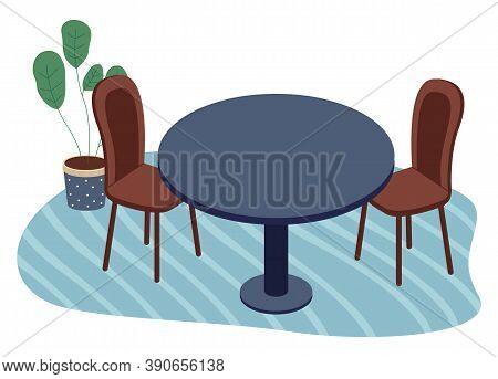 Isolated Wooden Chairs, Table With Green Plant In Pot At Carpet. Modern Stylish Furniture For Home O