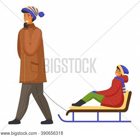 Family Wearing Warm Winter Clothes Walking, Father Holding Hand By Rope And Ride Son On Sledge, Man