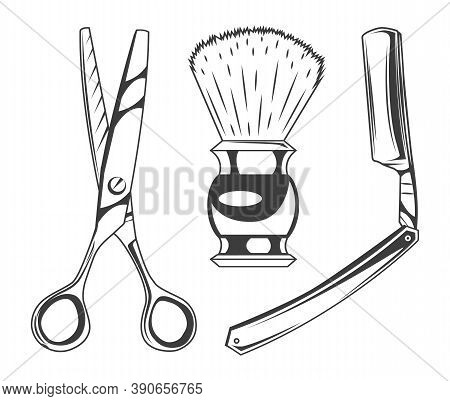 Set Of Barbershop Tools Or Instruments. Sharp Scissors For Cutting Hair, Shaving Brush For Beard, Sh