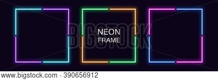 Neon Square Frame. Set Of Quadrate Neon Border In 4 Angular Parts. Geometric Shape With Copy Space,
