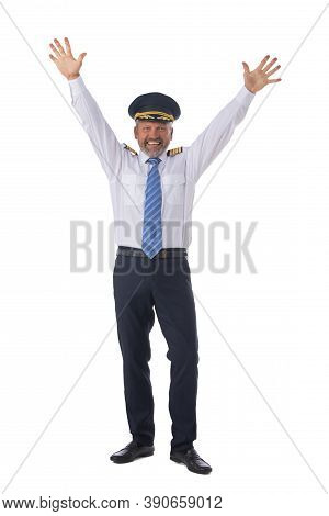 Airline Pilot Wearing The Four Bar Captains Epaulettes, Firlst Pilot, Aircraft Commander With Raised