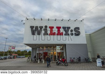 Close Up View Of Entrance In Grocery Store Willy:s. Business Concept. Uppsala. Sweden. 10.19.2020.