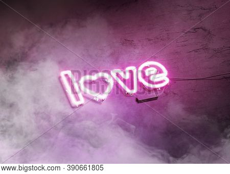 Neon Love Symbol On Dark Stone Wall Mockup With Smoke, 3d Rendering. Empty Like Or Amour Illuminated