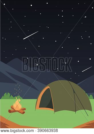 Starry Night Background With Tourist Tent, Cartoon Flat Vector Illustration.
