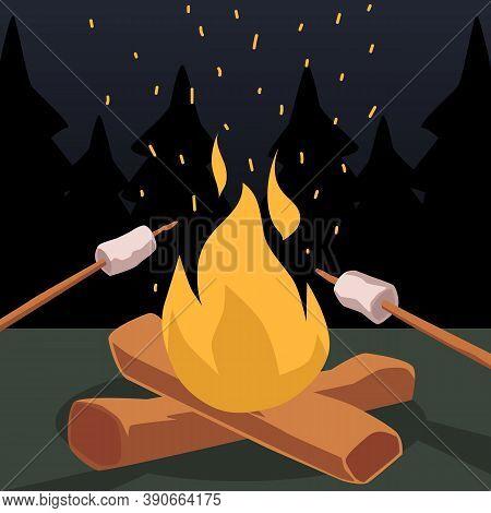 Roasting Marshmallows On Bonfire Cartoon Symbol, Flat Vector Illustration.