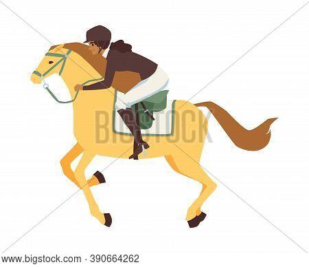 Horse Rider Riding Horse On Horseback, Flat Cartoon Vector Illustration Isolated