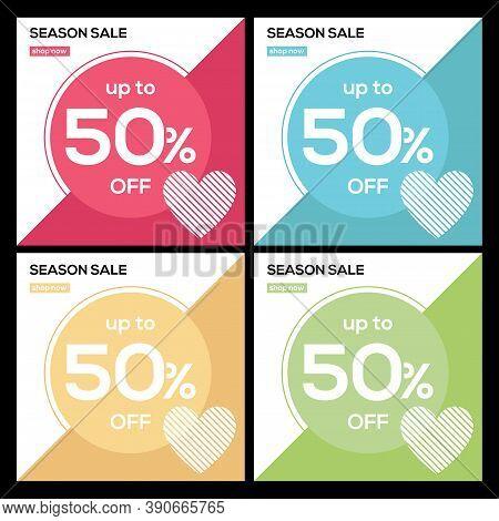 Valentines Day Sale, Valentine\'s Day Card, Poster, Flyer Templates. Valentine\'s Day Banner Design,