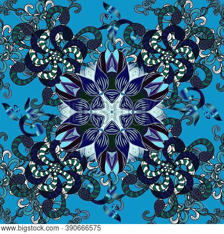 Flowers On Blue, Violet And Black Colors In Watercolor Style. Seamless Floral Pattern With Flowers O