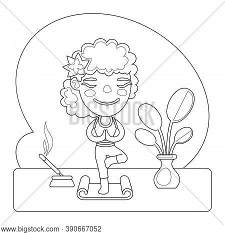 Cartoon Beautiful Woman Practicing Yoga Vrikshasana Or Tree Pose. Coloring Book Page With Profession