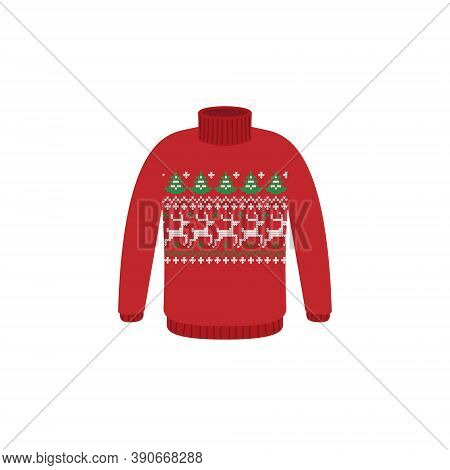 Vector Ugly Sweaters For Christmas Party. Knitted Jumpers With Winter Patterns