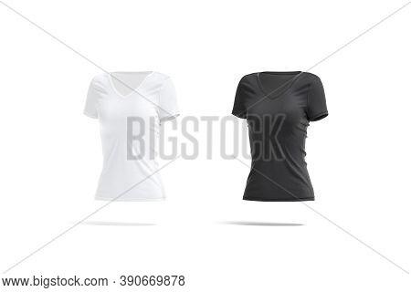 Blank Black And White Women Slimfit T-shirt Mockup, Side View, 3d Rendering. Empty Female Slim Texti